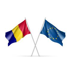 romania and european union waving flags vector image
