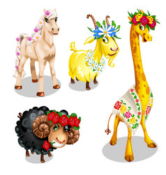 romantic cartoon animals with floral decoration vector image