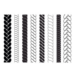 Ropes pattern brushes braids and plaits set vector