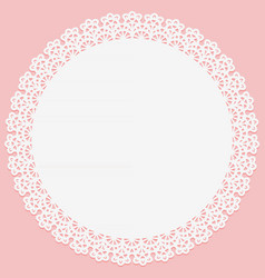round doily with lace on edge on pink vector image