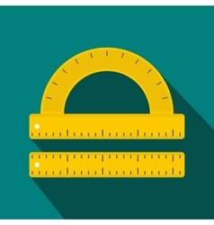Ruler and protractor icon flat style vector image