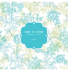 Scattered blue green branches frame seamless vector image