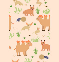 seamless pattern with cute desert animals vector image