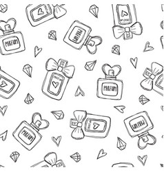 Seamless pattern with perfume bottles crystals and vector