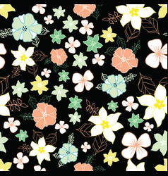 seamless repeat floral pattern on black background vector image