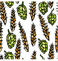 Seamless with hop and malt beer pattern isolated vector