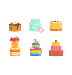 set cakes with colorful icing vector image