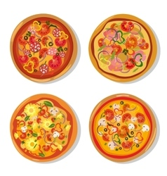 set flat hot pizza icons pizza isolated on vector image