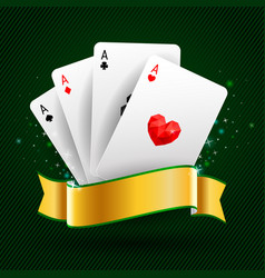 Set four aces cards playing card suits vector