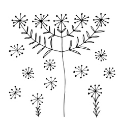 Set of abstract black hand drawn dandelion vector
