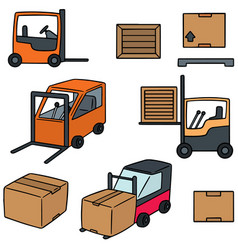 set of forklift truck vector image