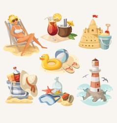 Set of summer beach elements vector