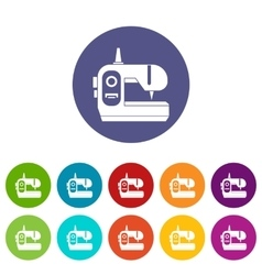Sewing machine set icons vector
