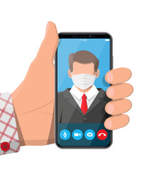 Smartphone with conference speaker businessman i vector