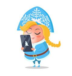 Snow maiden taking order on digital tablet vector