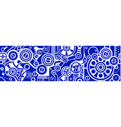 Steampunk seamless blue pattern vector