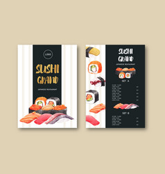 Sushi menu collection for restaurant design vector