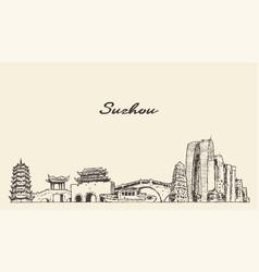 Suzhou skyline jiangsu east china sketch vector