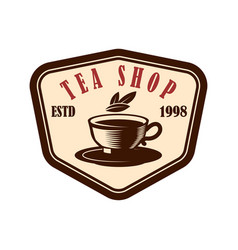 Tea shop emblem template design element for logo vector