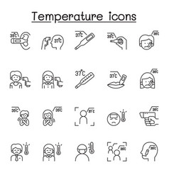 Temperature icons set in thin line style vector