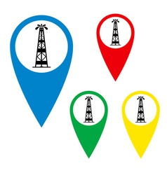 The silhouette of oil fountain on a map marker vector image