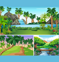 Three scenes of river and waterfall vector
