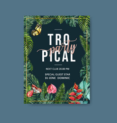 Tropical-themed poster design with palm leaves vector