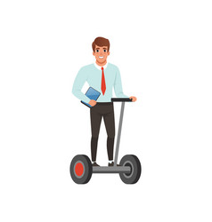Young smiling guy riding segway and holding vector