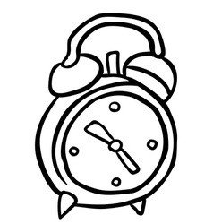 black and white alarm clock cartoon vector image