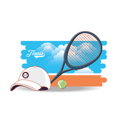 court of tennis sport with racket cap and ball vector image