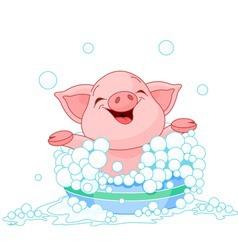 cute piglet taking a bath vector image