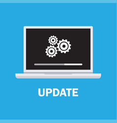 laptop and gears data update vector image vector image