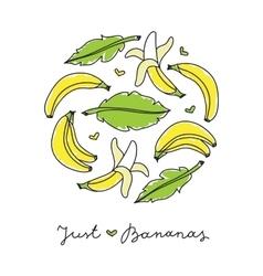 print of bananas vector image