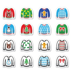 Ugly Christmas sweater on jumper icons set vector image vector image