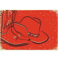 Cowboy boots and western hat Sketch on red backgro vector image