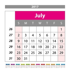 Desk Calendar for 2017 Year July Design Print vector image
