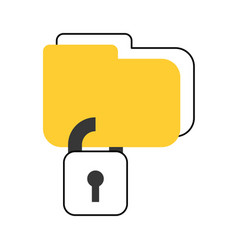 folder with safe secure padlock icon vector image