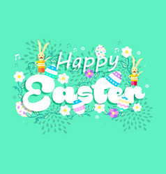 happy spring easter holiday card with bunny vector image vector image
