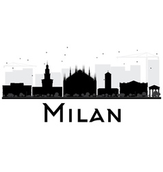 Milan City skyline black and white silhouette vector image vector image