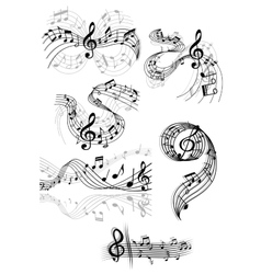 Swirling musical scores and notes vector image vector image