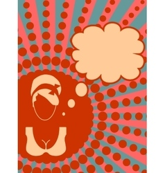Banner with female face and thinking bubble vector image vector image