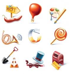 cartoon style icon set vector image vector image
