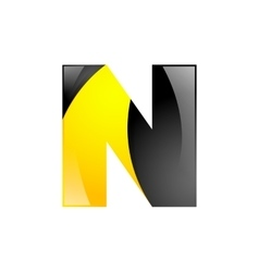 Creative yellow and black symbol letter N for your vector image