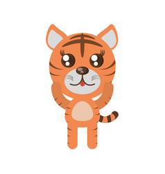 kawaii tiger animal toy vector image