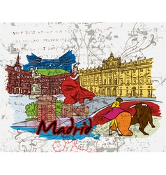 madrid doodles vector image