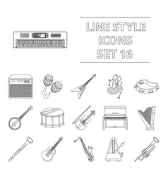 musical instruments set icons in outline style vector image