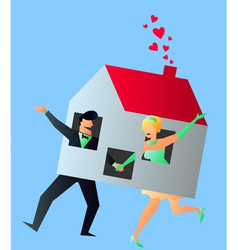 Newlyweds Young Couple Sharing Their New Home vector image vector image