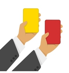Red and yellow cards in hand vector image vector image