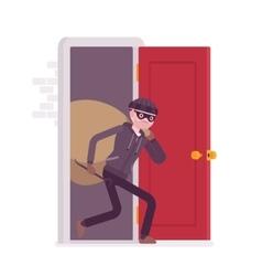 Thief carring loot through the door vector