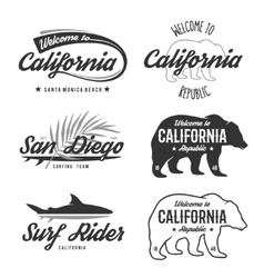 vintage monochrome California badges vector image vector image